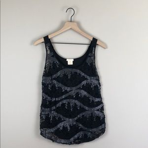 NWT Love on Tap Sheer Lace and Sequin Tank (M)